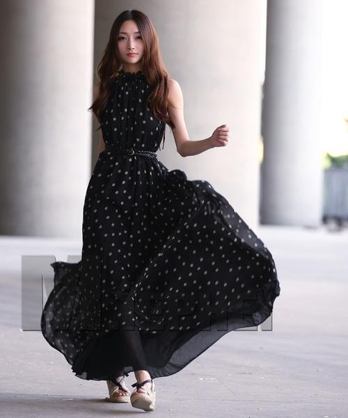 Long Polka Dot Chiffon Maternity Dress - Black