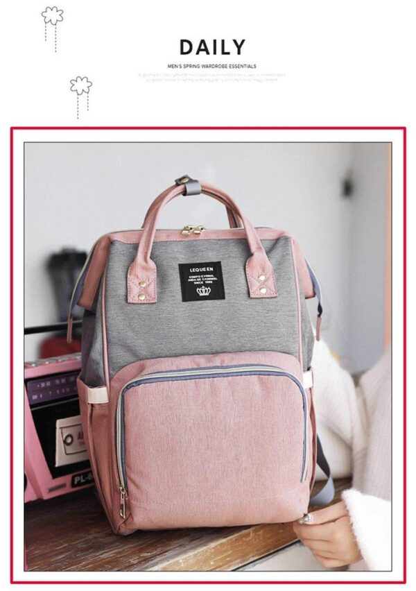 Pink and Grey Diaper Backpack Bag Front Side