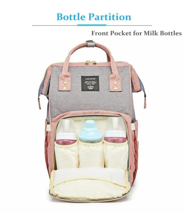 Pink and Grey Diaper Backpack Bottle Partition