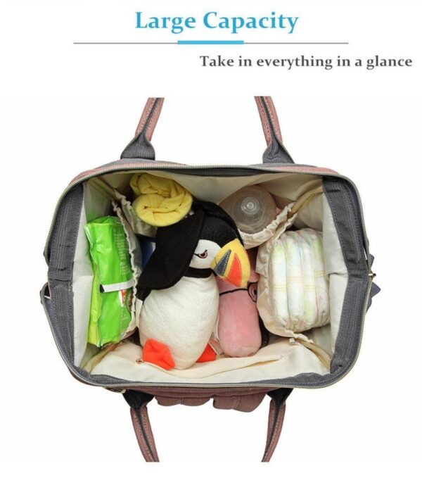 Pink and Grey Diaper Backpack Open