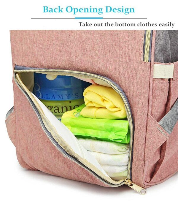 Pink and Grey Diaper Backpack Pocket