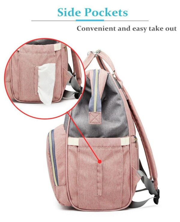 Pink and Grey Diaper Backpack Tissue Pocket