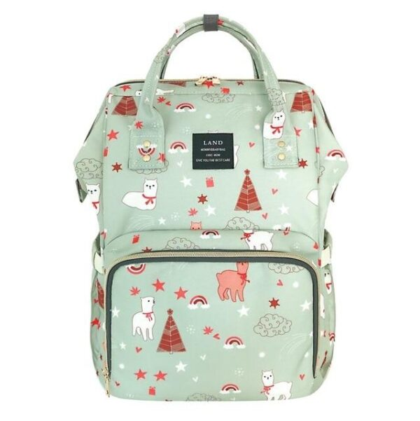 Land Diaper Backpack Bag - Green with Animals - AmyandRose