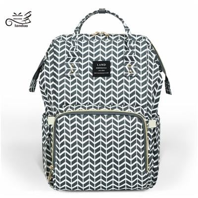 Land Diaper Bag - Grey with Pattern - AmyandRose