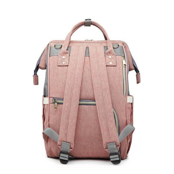 Pink and Grey Diaper Bag Backpack Back