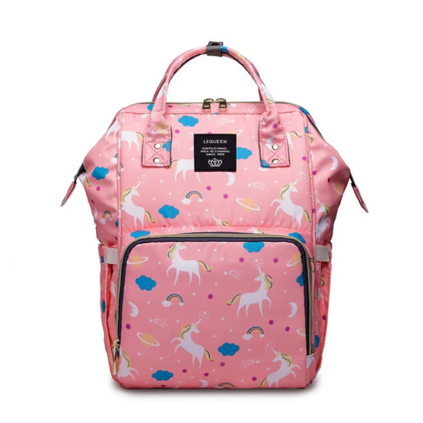 Lequeen Diaper Bag Backpack Pink Unicorn