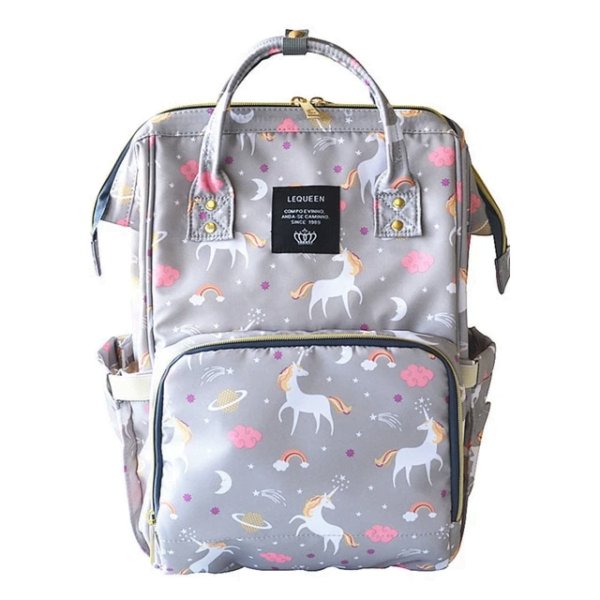 Lequeen Diaper Bag Backpack Gray Unicorn