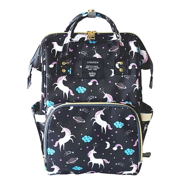 Lequeen Diaper Bag Backpack Black Unicorn