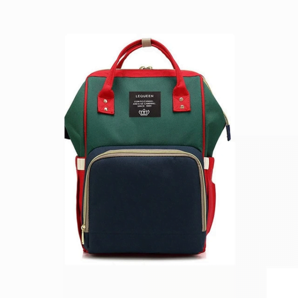 Lequeen Diaper Bag Backpack Green Red