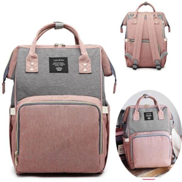 Pink and Grey Diaper Bag
