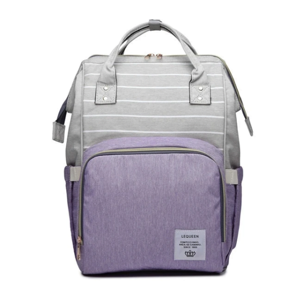 Lequeen Diaper Bag Backpack Grey Purple