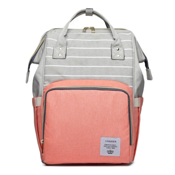 Lequeen Diaper Bag Backpack Grey Peach