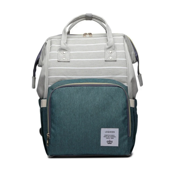 Lequeen Diaper Bag Backpack Gray Green