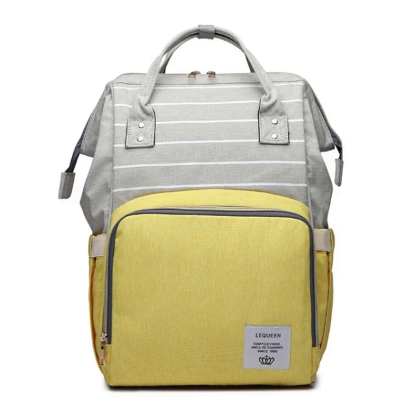 Lequeen Diaper Bag Backpack Grey Yellow