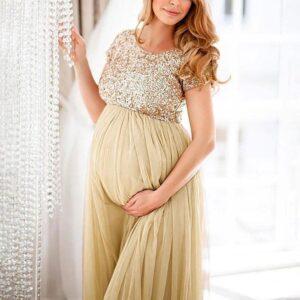 Gold Sequin Maternity Dress