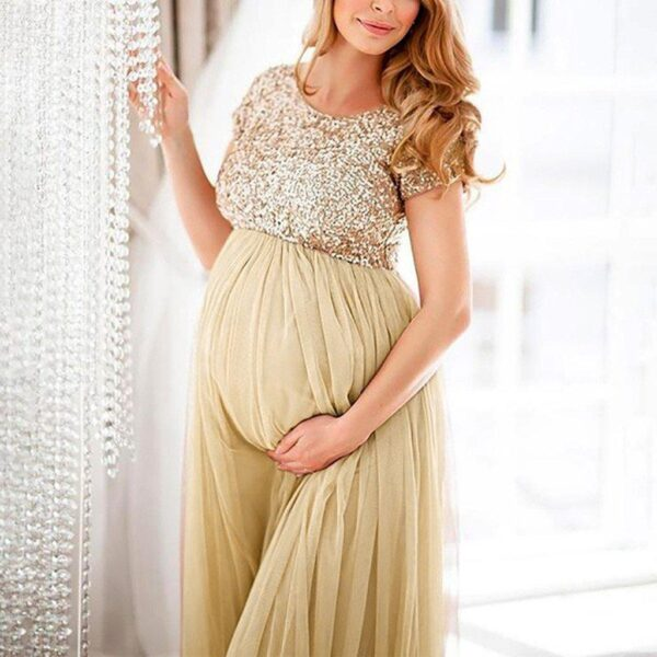 Gold Sequin Maternity Dress