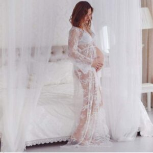 Angel Off White Maternity Dress Gown See Through