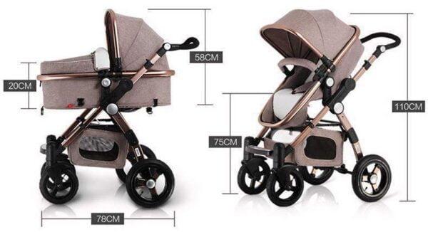 Baby Stroller 3 in 1 Size