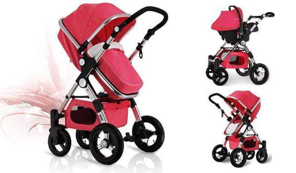 Baby Stroller 3 in 1 with Car Seat Red