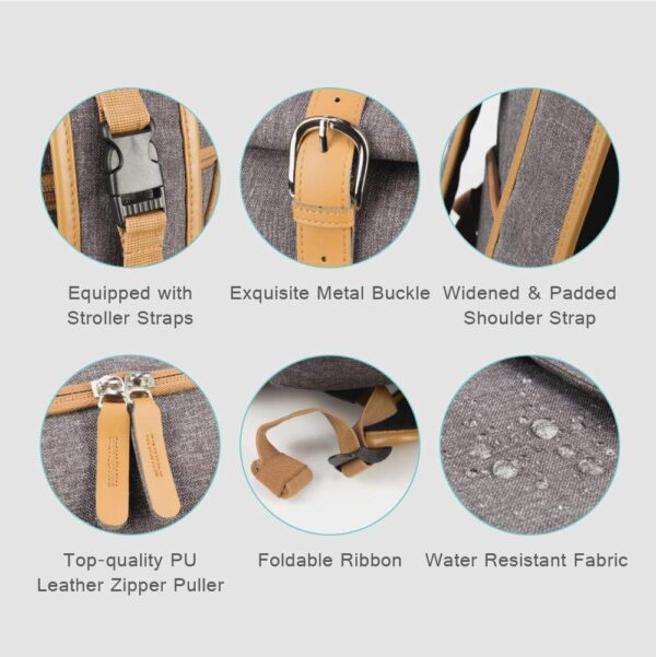 Diaper Backpack Bag for Dads Dark Grey