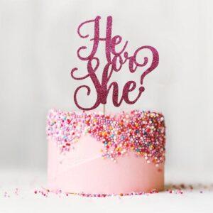 Glitter Cake Topper Gender Reveal Pink