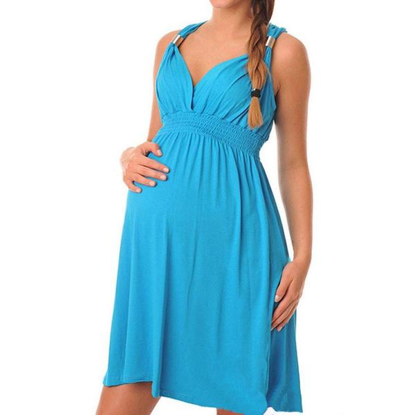 Blue Halter Pregnancy Top