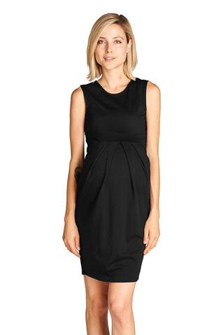 Front pleat midi pregnant woman dress