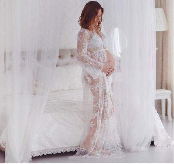 See thru maternity gown white