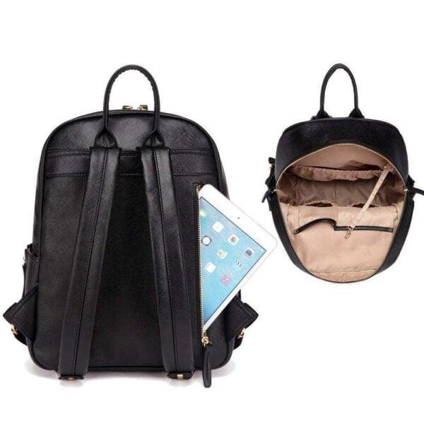 Janet Leather Diaper Backpack Bag Back Pocket