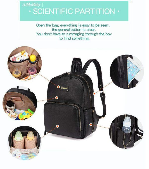 Janet Leather Diaper Backpack Bag Features