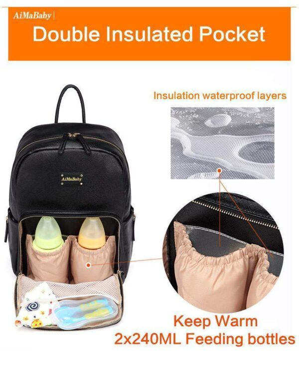 Janet Leather Diaper Backpack Bag Insulated Bottle Pockets
