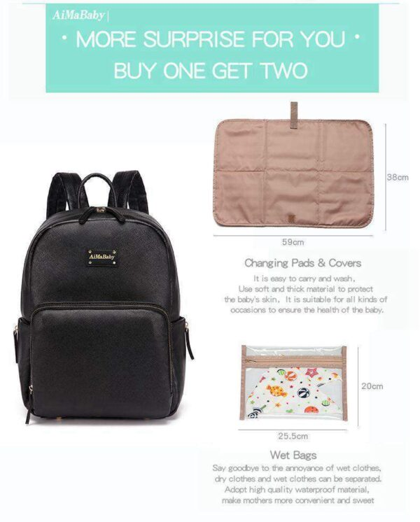 Janet PU Leather Diaper Backpack