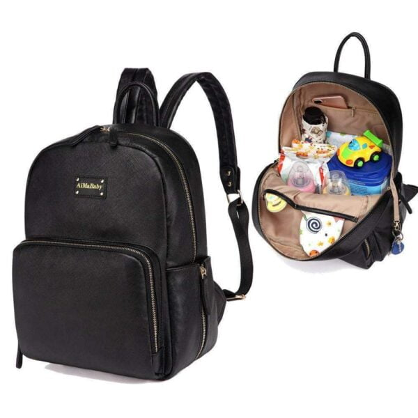 Janet Leather Diaper Backpack Bag Black