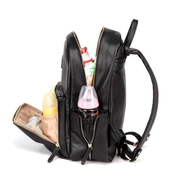 Janet Leather Diaper Backpack Bag Side Black