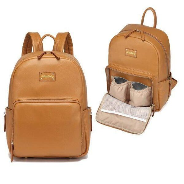 Janet Leather Diaper Backpack Bag Brown