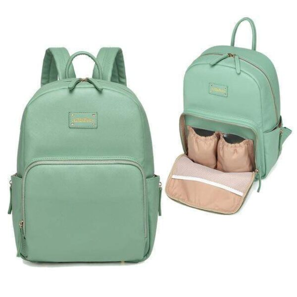 Janet Leather Diaper Backpack Bag Green