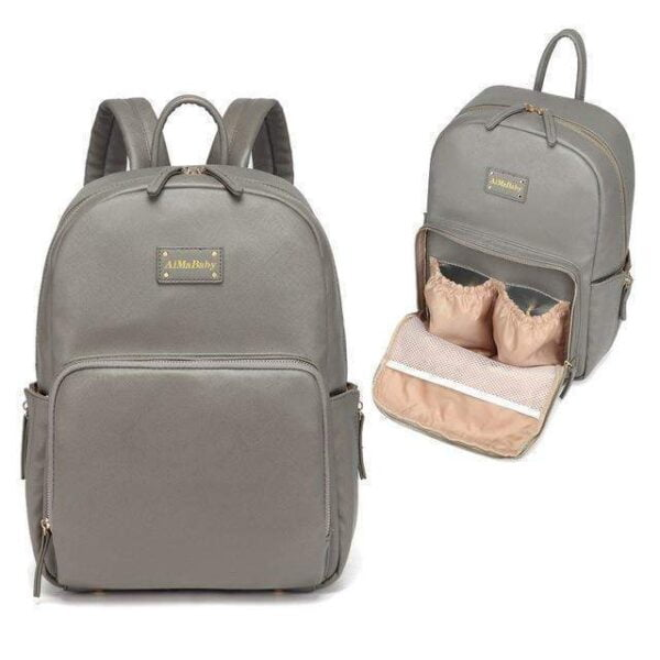 Janet Leather Diaper Backpack Bag Grey