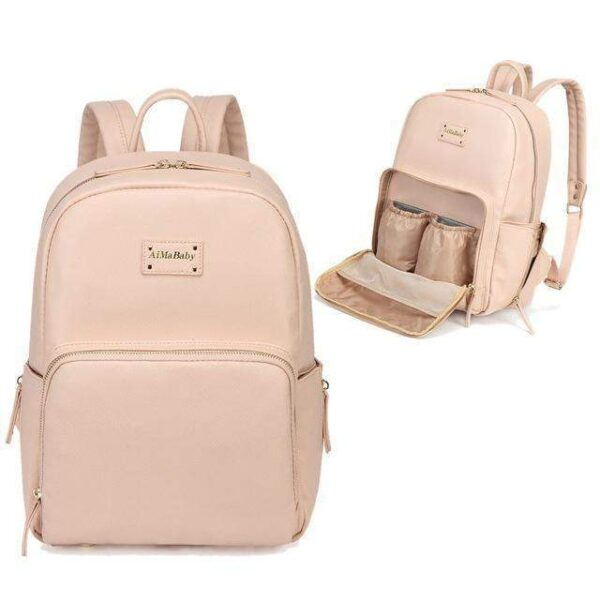 Janet Leather Diaper Backpack Bag Pink