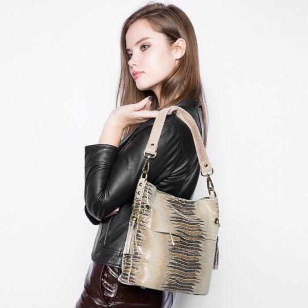 Mason Crocodile Handbag on Shoulder