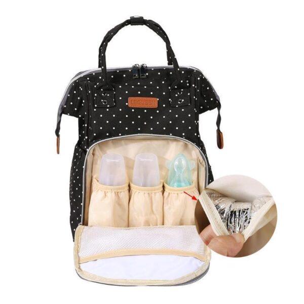 Polka Dot Waterproof Diaper Backpack Bag Front Bottle Pocket