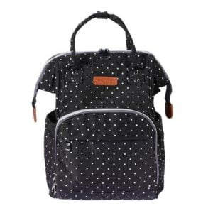 Polka Dot Waterproof Diaper Bag Backpack Black
