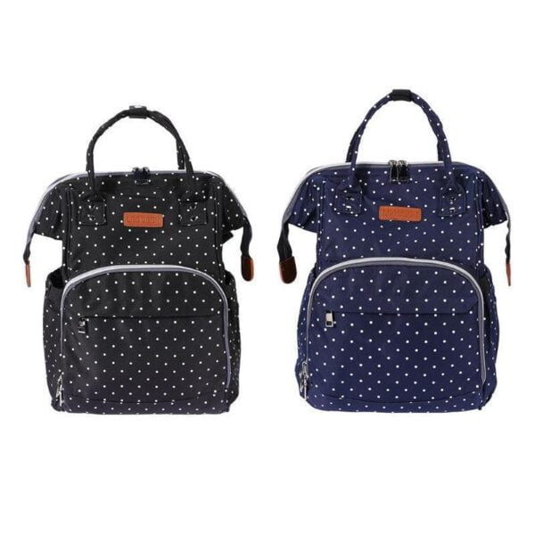 Polka Dot Waterproof Diaper Bag Black and Blue