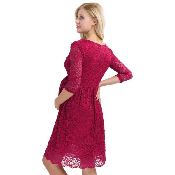 Cocktail Party Maternity Dress Burgundy Back