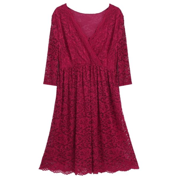 Floral Cocktail Party Maternity Dress Burgundy