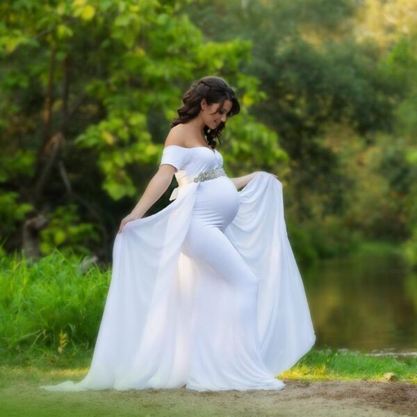 White Maternity Dress with Cape