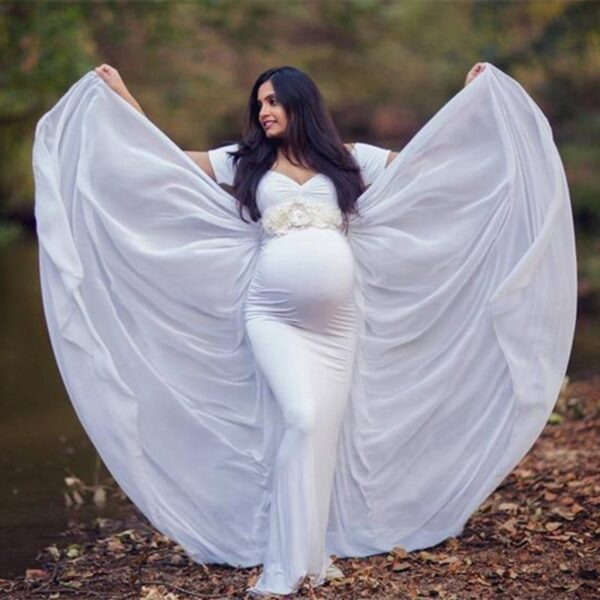 Maternity Dress with Cape White