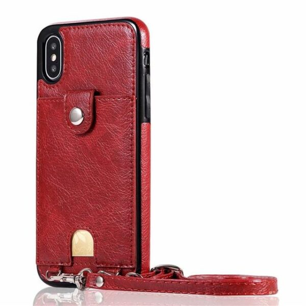 Iconic iPhone Purse Case with Shoulder Strap Red