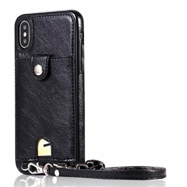 Iconic iPhone Purse Case with Shoulder Strap Black