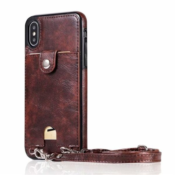 Iconic iPhone Purse Case with Shoulder Strap Brown