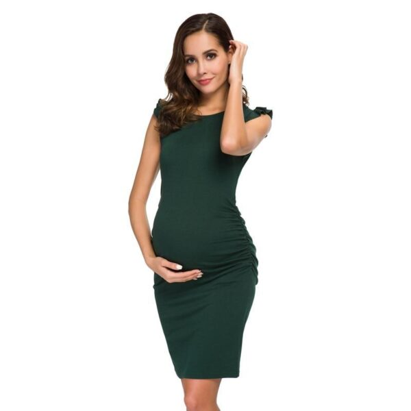 Ruched Maternity Dress Dark Green